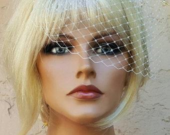 Ivory French Net Bridal Veil, Wedding Veil, 7 inch Veil, Small Veil, VIntage Style Veil, White Bridal Veil, Ivory Bridal Veil, Veils, bride