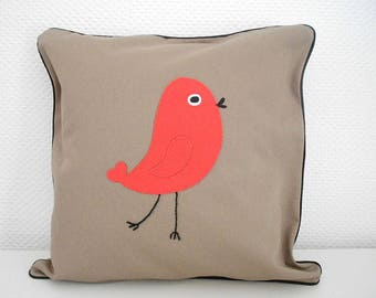 Cover cushion 40 X 40 cm - cherry bird and Taupe