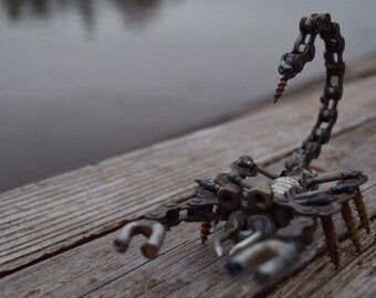 Metal scopion sculpture