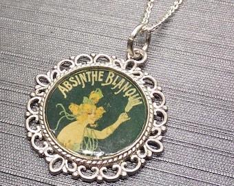 Vintage Postcard Absinthe Advertising Art Necklace
