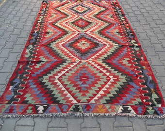free shipping VINTAGE TURKİSH ousak kilim Anatolian handwoven kilim rug decorative kilim - SİZE : 65'' X 120'' ( 163 cm X 300 cm)