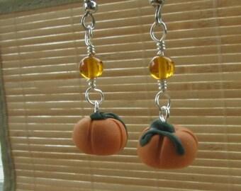 Autumn Pumpkin Dangle Earrings - Handmade Polymer Clay Jewelry Gift for Teacher Mom Sister Girlfriend Teen FunThanksgiving Halloween