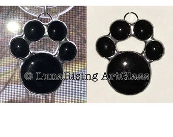 Black Paw Print Ornament Suncatcher **FREE Shipping in USA**
