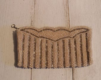 NBK Vintage Pearl Beaded Clutch Evening Bag in Champagne Color