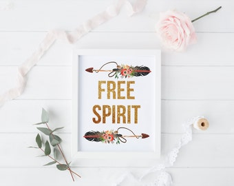 "PRINTABLE Art ""Free Spirit"" Floral Tribal Watercolor Floral Feather Art Print Feather Wall Art Tribal Feather Art Print Nursery Decor"
