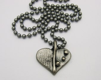 Heart Necklace, Silver Toned Necklace, Handmade Heart Necklace, Industrial jewelry, Gunmetal Necklace, wife gift, girlfriend gift