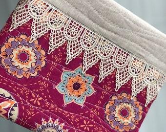 Handmade Boho Clutch, Accessory Pouch, Makeup Bag, Pencil Pouch, Travel Pouch