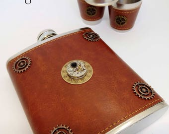 Steampunk flask and cup set -mens gift - steampunk watch flask - brown leather flask - mechanism flask - steampunk flask - steampunk - flask