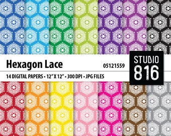 Hexagon Lace - Digital Paper for Scrapbooking, Cardmaking, Papercrafts, Gift Boxes #05121559