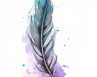 "Feather 8x10"" Matted Giclée Print"