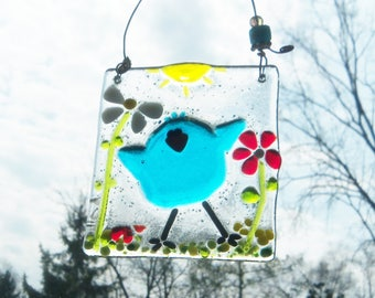 Blue Bird of Happiness in a Field of Flowers  // Fused GLass // Cheerful // Ornament // Summer // Spring // Colorful // Whimsical // Fun