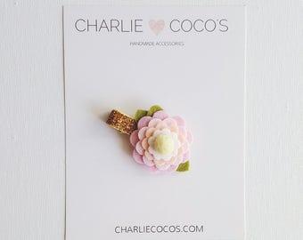 Girls/Baby Hair Clips, Felt Flower, Baby Felt Flower Hair Clips, Unique Hair Clips, Flower Hair Clips, Hair Bow Clips- Pink and Peach