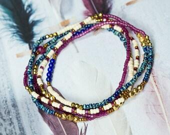 Ruby Bracelet, Lapis Bracelet, Wrap Bracelet, Beaded Bracelet, Boho Bracelet, Seed Bead Bracelet, Stretch Bracelet, Boho Jewelry