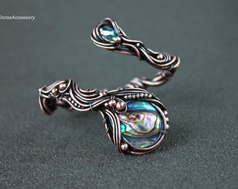 Copper bracelet with abalone– Wire wrapped copper bracelet with abalone – Bracelet for women