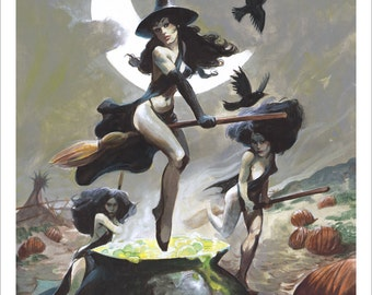 THE WITCH COVEN Spooky Signed Art Print by Mike Von Hoffman