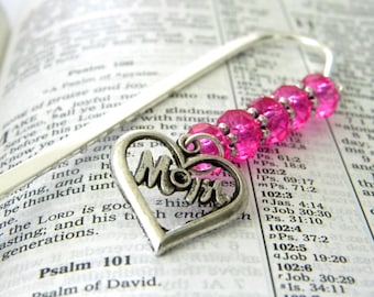 Mom Bookmark with Hot Pink Glass Beads Silver Color Shepherd Hook Steel Bookmark