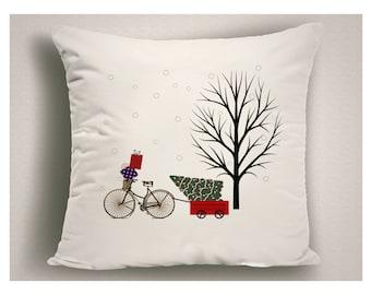 Bike Lover Gift, Christmas Throw Pillow Bicycle and Tree, Holiday Pillow Covers, Christmas Decor Bike, 14 x 14, 16 x 16, 18 x 18, 20 x 20