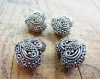 Metal Bead Silver Bead Silver Filigree Heart Beads (2) IS410