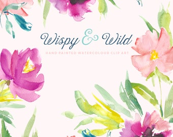 Watercolour Flower Hand Painted Clip Art - Wispy & Wild