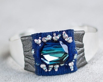 Blue cuff bracelet with felt Swarovski crystals textile OOAK - Royal delft blue bridal jewelry cuff - Something blue - Anniversary gift