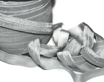 "Silver FOE, 5/8"" Fold Over Elastic, Elastic by the Yard, You Choose Yardage, Headband Supplies, Craft Supplies, Solid FOE, Foldover Elastic"