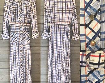 1970's Maxi Dress - Long Shirt Dress - Collared Button Down Dress - Blue Orange White - Size Small