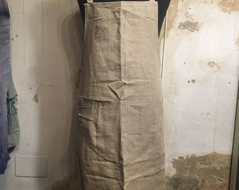 1930s French Military Deadstock Hemp Apron - Vintage 1930s Workwear
