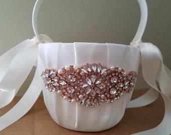 SALE - Wedding Flower Basket, Flower Girl Basket, Rhinestone/Pearl Flower Basket  - Style BK1050RG