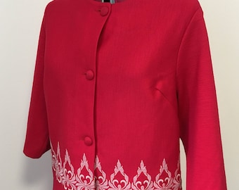 Vintage 1980s red embroidered two piece work suit- top & skirt.