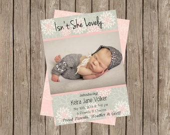 Isn't She Lovely Birth Announcement | Pink & Grey Floral (5x7)