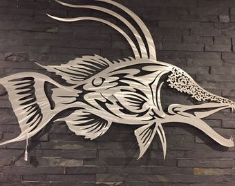 Hog Fish Metal Wall Art Metal Fish Art Home Decor Sculpture