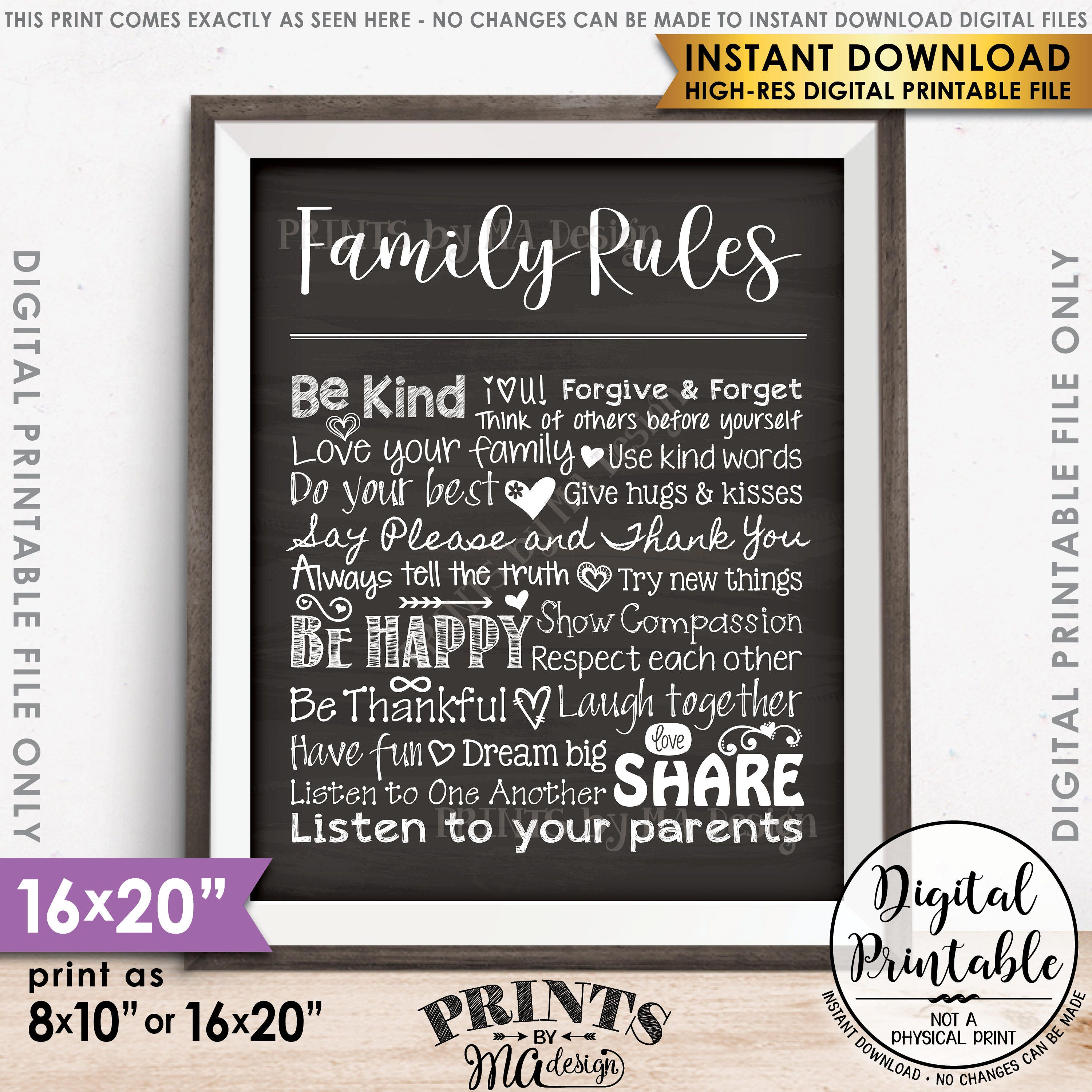 Fabulous Family Rules Sign, Follow the Rules of the Family Sign, House  WL67