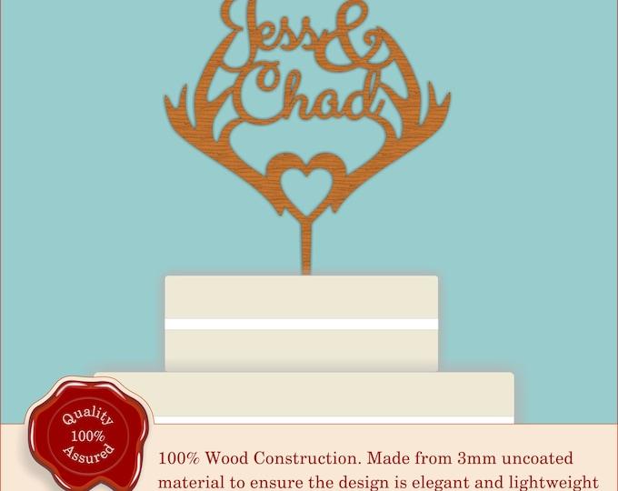 Deer Antler Couples Names - Wooden Personalised Cake Topper. Wedding Antlers Cake, Vintage Weddings