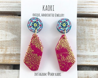 Earrings - Dangle earrings, Polymer clay studs, statement earrings in bollywood ice cream pattern pink with gold leaf