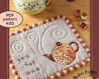 Tea-for-One MugRug ( tea teacup teapot appliqué embroidery potholder trivet  patchwork quilt pattern )