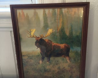 MOOSE Print Glass Covered in Simple Wooden Frame