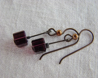 Square crystal beads on stalks - cute wee crystal earrings, burgundy color beads, copper, niobium hypo-allergenic