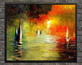 oil painting,seascape sunrise painting,sailing boats painting,palette knife painting by Enxu.Zhou,framed,ready to hang,huge 36''