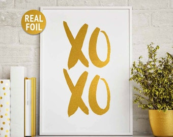 Gold Foil Print 'XOXO' Gold Foil Quote, Gold Office Home Decor, Gold Bedroom Decor, Rose Gold Foil Print, Gold Poster Wall Art, XOXO Sign