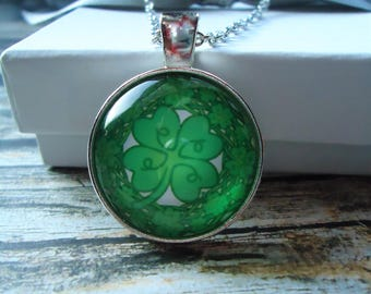St. Patrick's Day Silver Necklace or Key-chain | Irish, Shamrock, Clover, Green, Ireland, Good Luck Charm, Luck of the Irish