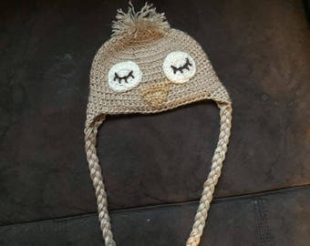 Sleeping owl crochet hat