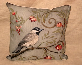 Shabby Chic Fun Throw Pillow with Bird Motif French Market Design Floral Handmade Pillow French Blue