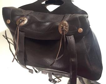 Vintage Black Leather Motercycle Saddle Bag