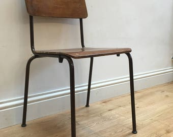 Industrial, chair, vintage, metal legs, plywood, stacking chairs, cafe, dinning chairs,
