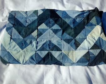 Blue Jean Denim Quilt - Queen Size Modern Chevron Stripe Blanket - Upcycled Denim Quilt - Repurposed Blue Jean Blanket
