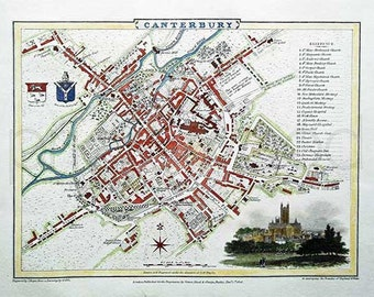 Canterbury 1806 - Antique English Map of Canterbury - 8 x 10 ins PRINT - FREE P&P UK