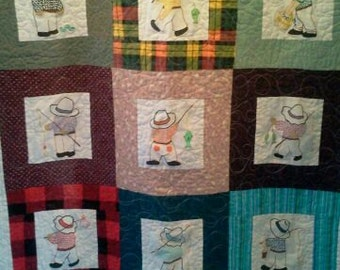 GRANDPA Lets Go Fishing Baby Child Quilt