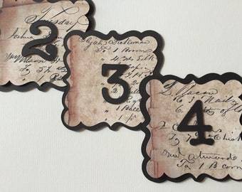 Vintage French  Style Wedding Venue Table Numbers with vintage french style invoice print handmade Numbers 1-20 available
