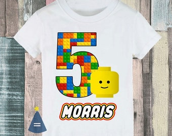 Smiley storage box building blocks bricks Custom Birthday Party T-shirt - personalized with name and age