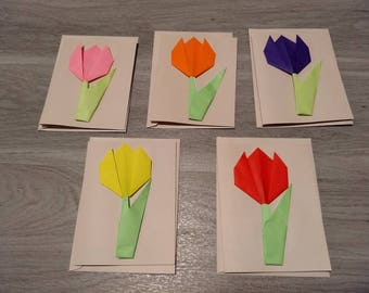 Pack of 5 Origami Tulip Note Cards Blank Inside with Envelopes